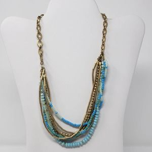 Stella and Dot Blue Gold Tone Layered Necklace